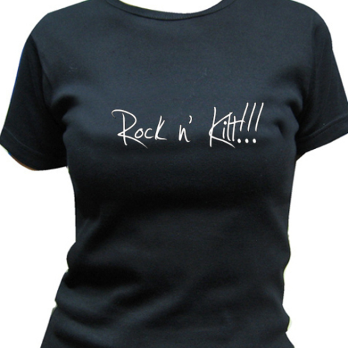 "BLACK T SHIRT FOR WOMEN ""Rock n' Kilt !!!"" CELKILT"